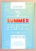 Vertical light blue summer party background with graphic elements.