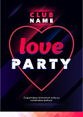 Vertical love party background with pink heart, graphic elements and text.