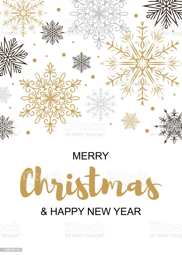 vertical merry christmas and happy new year greeting card with beautiful golden and black snowflakes
