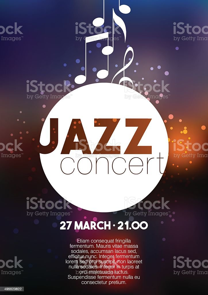 Vertical music jazz poster with blurred background and text. vektör sanat illüstrasyonu