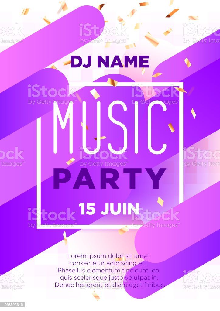Vertical Music Party Background With Color Graphic Elements