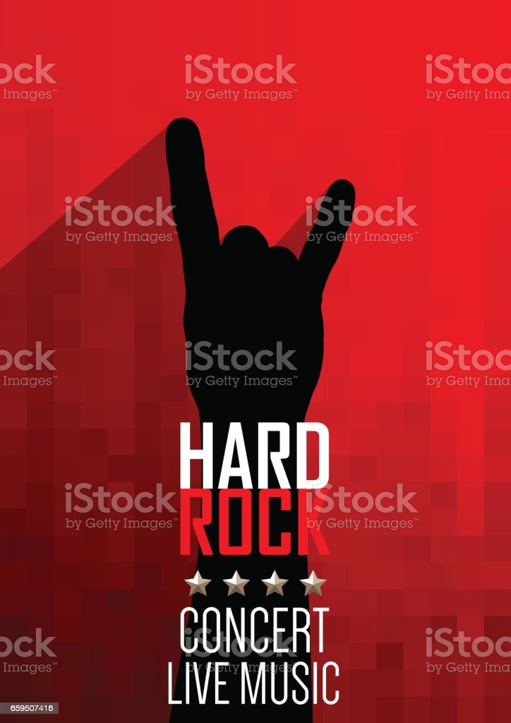 Vertical music red background with hand of rocker. vector art illustration