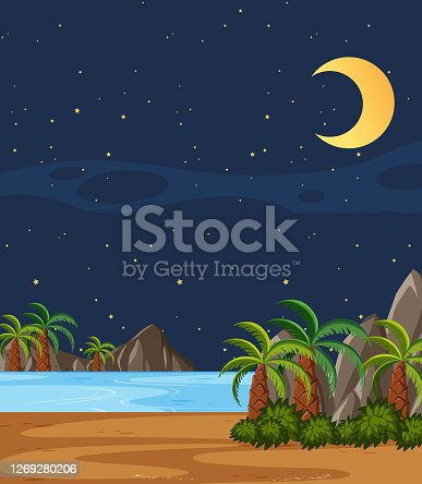 Vertical nature scene or landscape countryside with plam trees by the beach and blank sky at night