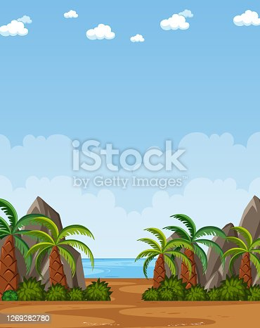 Vertical nature scene or landscape countryside with plam trees by the beach and blank sky at daytime