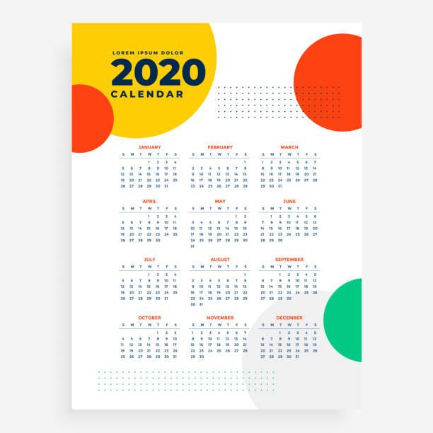 2020 vertikales neues Jahr Kalender Design in modernem Stil – Vektorgrafik