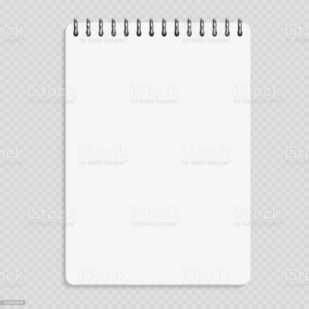 Vertical notebook - clean notepad mockup isolated on transparent background vector art illustration