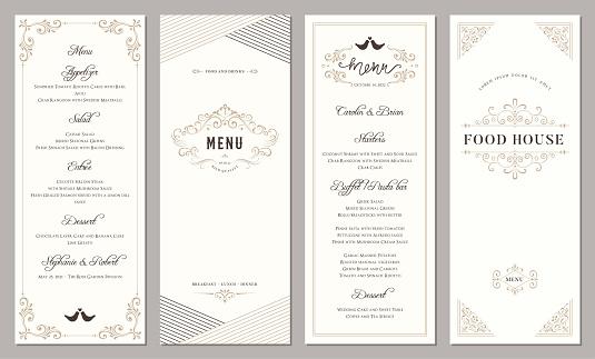 Wedding and restaurant menu. Vertical classic templates.