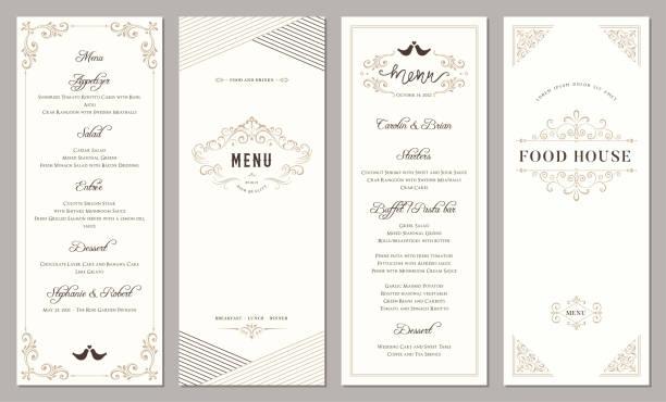 Vertical Ornate Templates_202 Wedding and restaurant menu. Vertical classic templates. grace stock illustrations