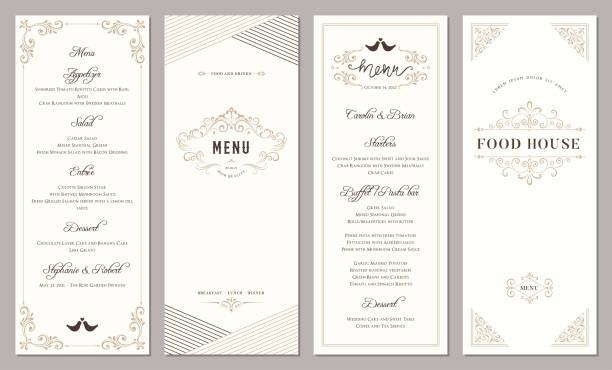 Vertical Ornate Templates_202 Wedding and restaurant menu. Vertical classic templates. french culture stock illustrations
