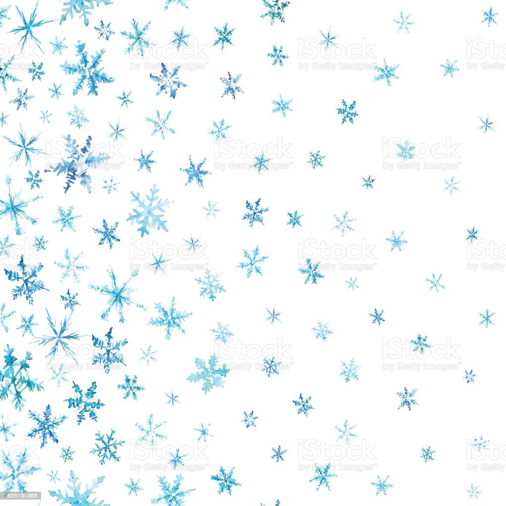 Vertical pattern of watercolor snowflakes isolated on white. vector art illustration