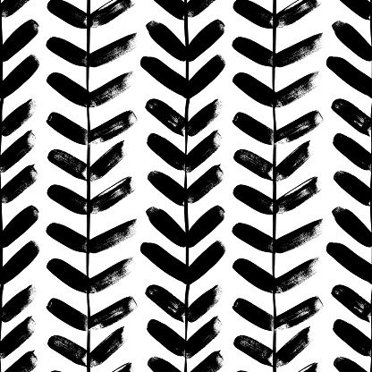 Vertical plant with leaves black paint vector seamless pattern. Hand drawn foliage branch silhouette, liana, chevron texture, herringbone.