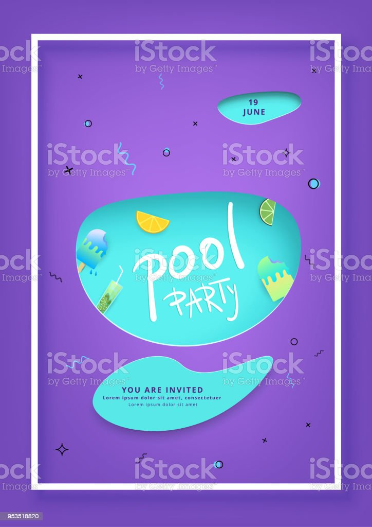 vertical pool party flyer vector illustration stock vector art