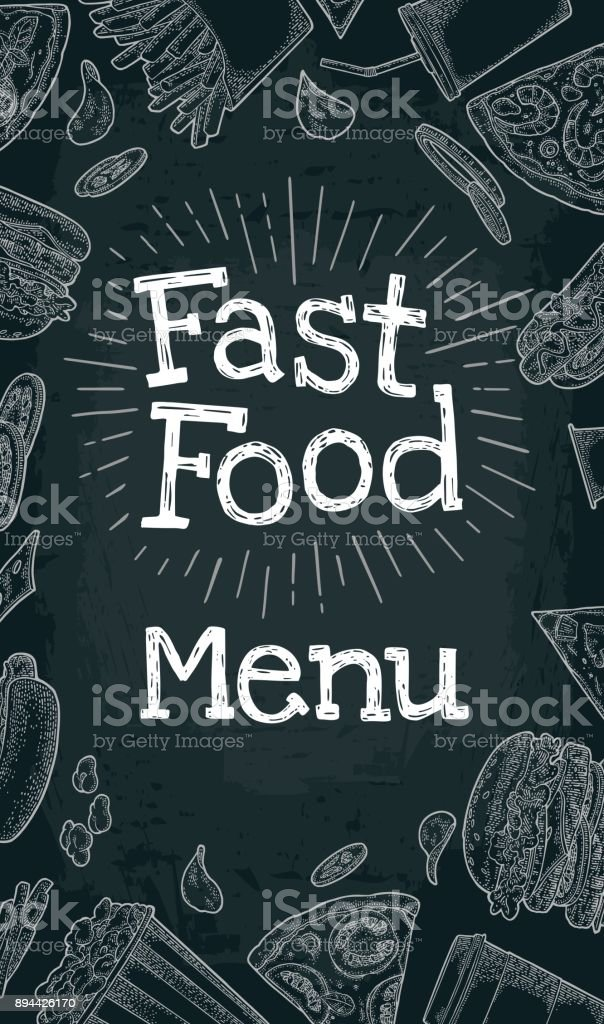 Vertical poster fast food menu. Vector white engraving on black vector art illustration