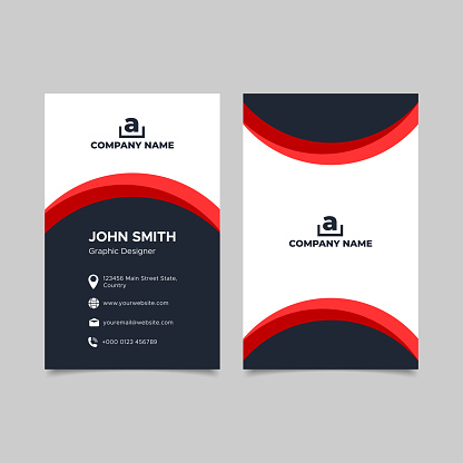 Vertical red and black business card template design