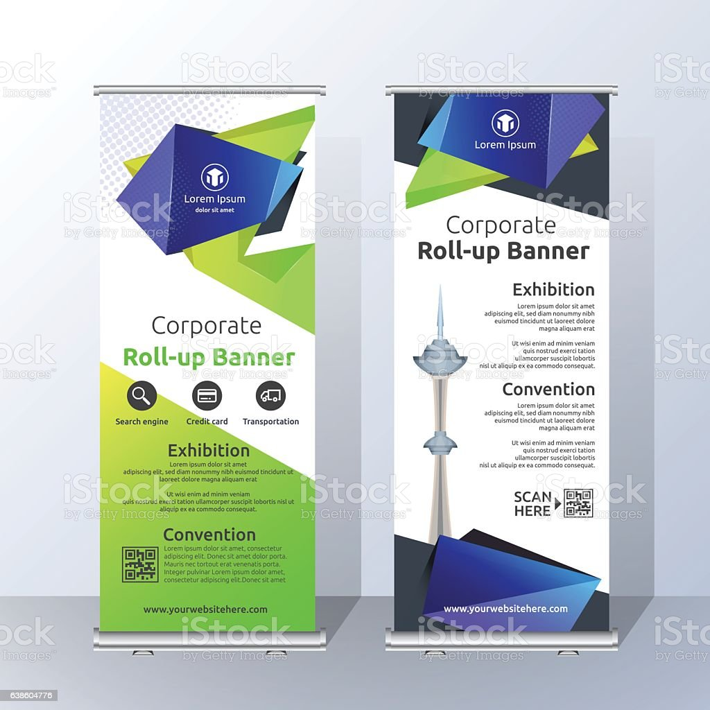 vertical roll up banner template design イラストレーションの