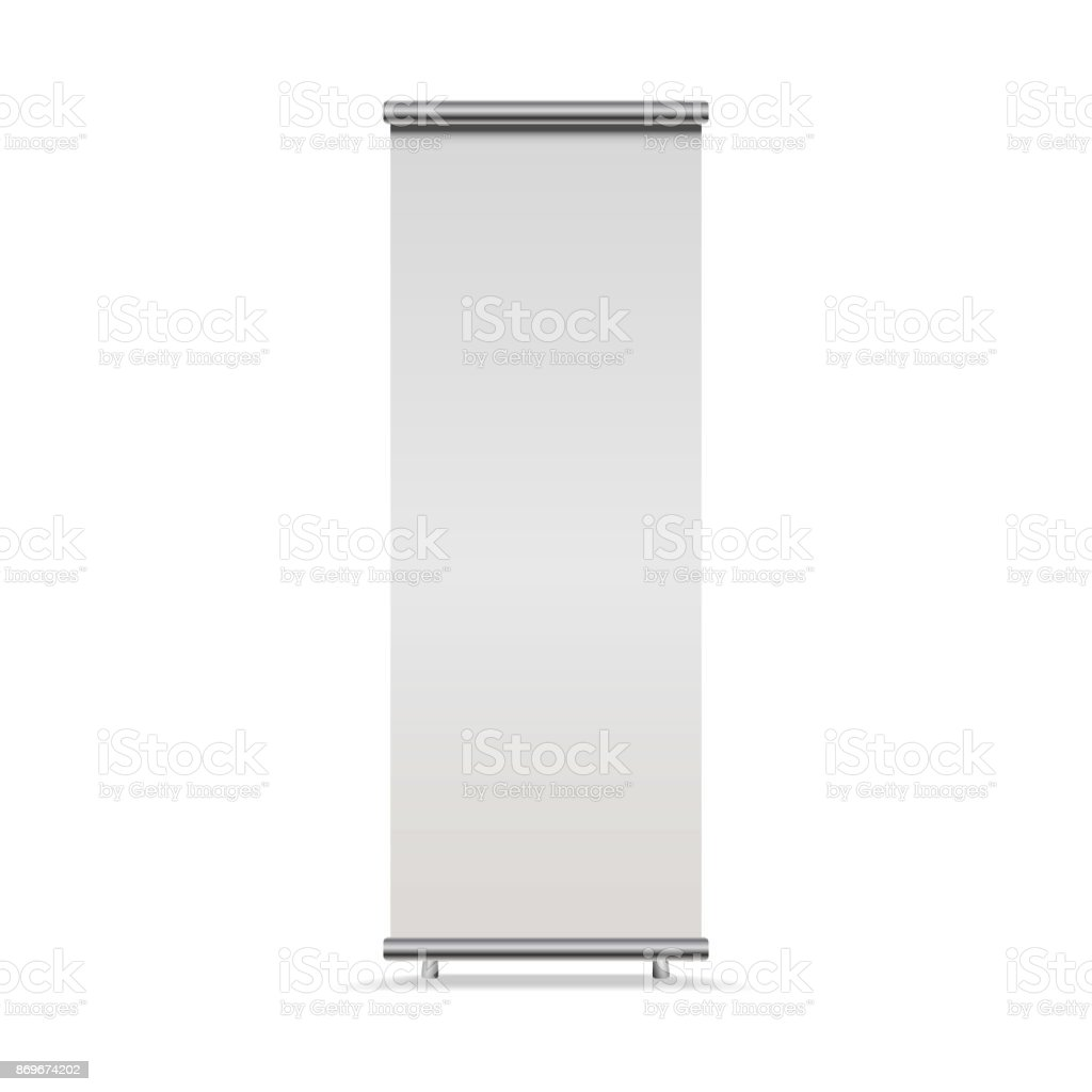 Vertical Roll-up banner isolated on white background, , front view. Vector empty show display mock up for presentation or exhibition vector art illustration
