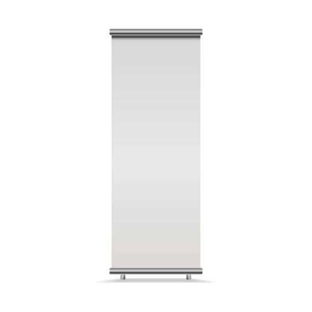 vertikale roll-up banner isoliert auf weißem hintergrund, vorderansicht. vektor leer anzeige mock für präsentation oder ausstellung - ausstellungstische stock-grafiken, -clipart, -cartoons und -symbole