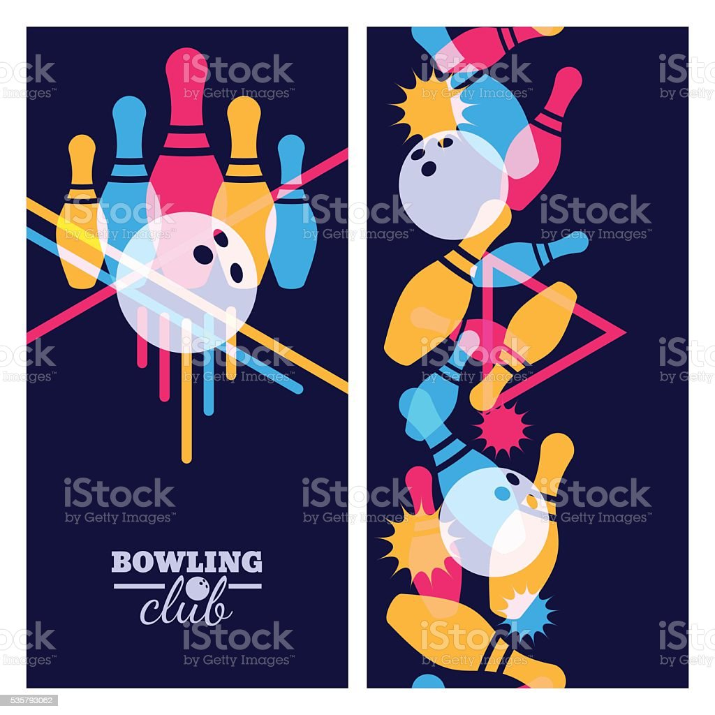 Vertical seamless colorful background. Abstract vector illustration of bowling game. vector art illustration