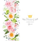 Vertical seamless line garland with camellia, rose, peony, orchid, carnation, hydrangea, green leaves and blue berries. Cute garden floral vector design frame. Banner stripe element.