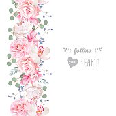 Vertical seamless line garland with camellia, rose, peony, eucaliptus leaves and orchid. Cute wedding floral vector design frame. Banner stripe element.