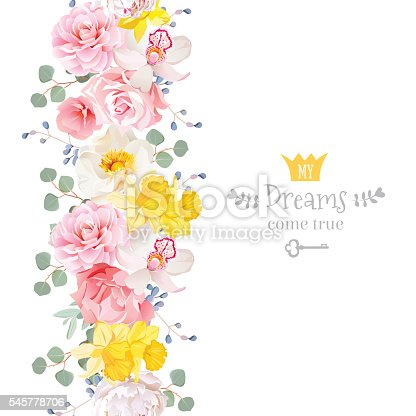 Vertical seamless line garland with camellia, wild rose, peony, orchid, carnation, narcissus, eucaliptus leaves and blue berries. Cute garden floral vector design frame. Banner stripe element.