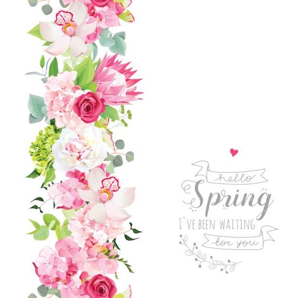 nahtlose vertikallinie girlande mit rosa hortensie, orchidee, pfingstmontag - blumengirlanden stock-grafiken, -clipart, -cartoons und -symbole