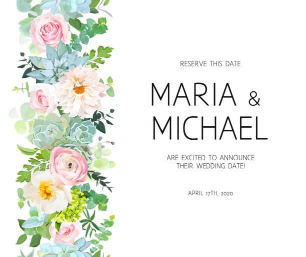 ilustrações, clipart, desenhos animados e ícones de guirlanda de linha sem costura vertical com rosa, dália, ranúnculo, ue - planos de fundo de flores