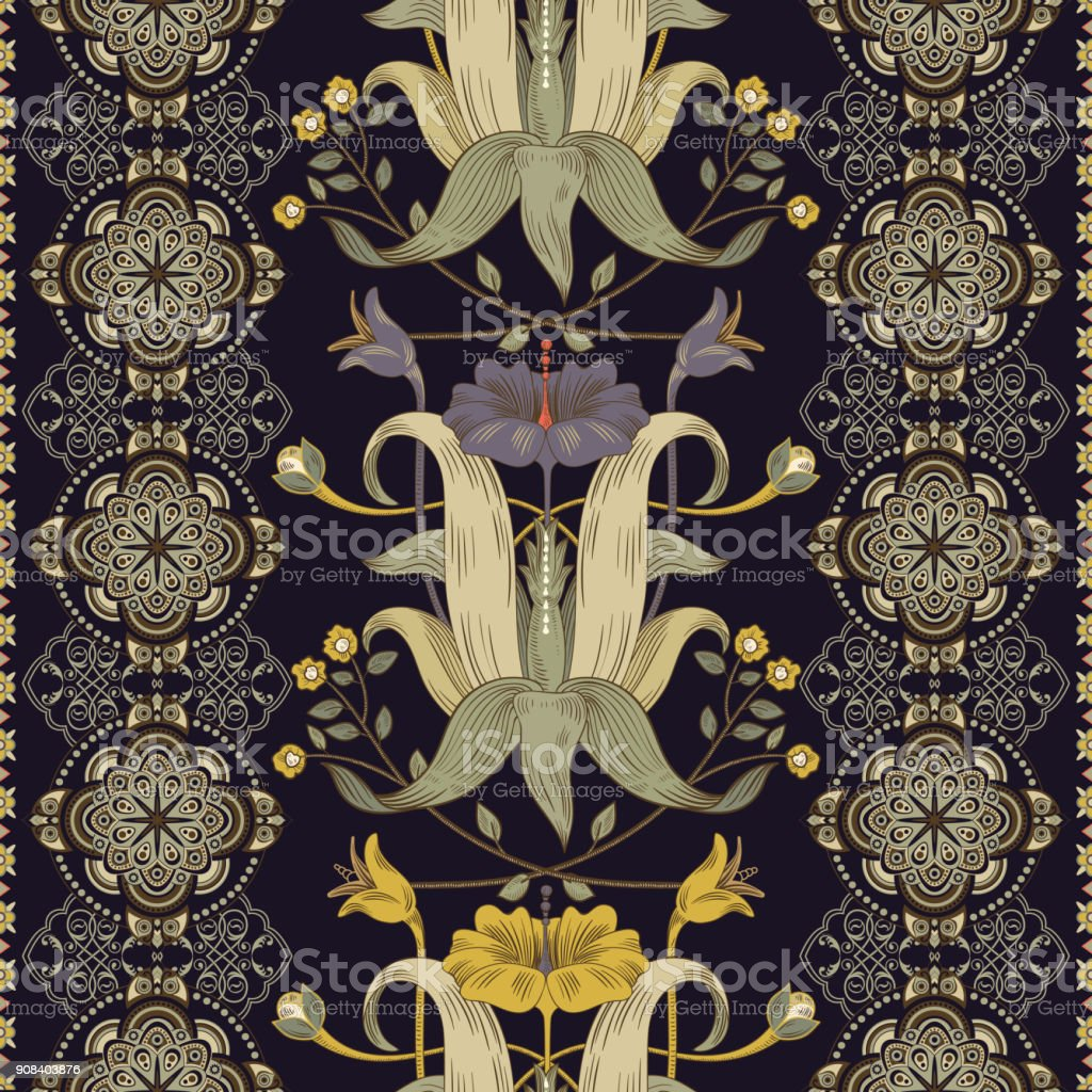Vertical Seamless Pattern Victorian Style Vintage Floral Wallpaper