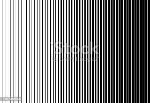 Vertical speed line halftone pattern thick to thin. Vector illustration.