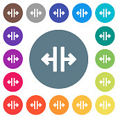 Vertical split tool flat white icons on round color backgrounds