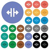 Vertical split tool round flat multi colored icons