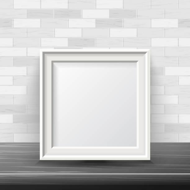 vertikalen platz rahmen mock-up vektor. gut für ihre messe-design. realistische schatten. weiße ziegel wand hintergrund. vorderansicht illustration - ausstellungstische stock-grafiken, -clipart, -cartoons und -symbole