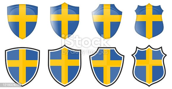 istock Vertical Swedish flag in shield shape, four 3d and simple versions. Sweden icon / sign 1215028229