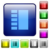 Vertical tabbed layout color square buttons