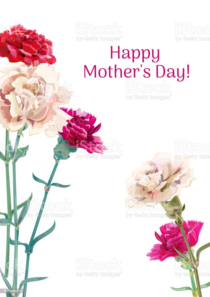 vertical template card for mothers day with carnation schabaud red