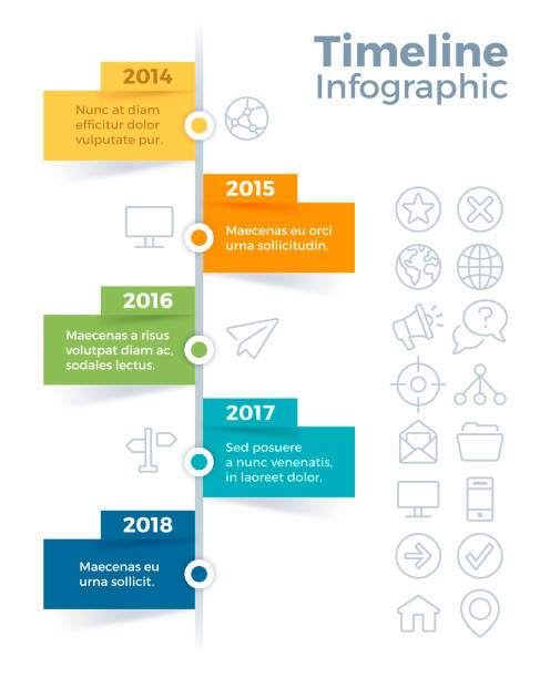 Vertical Timeline Infographic Five item vertical timeline infographic concept with space for your copy. vertical stock illustrations