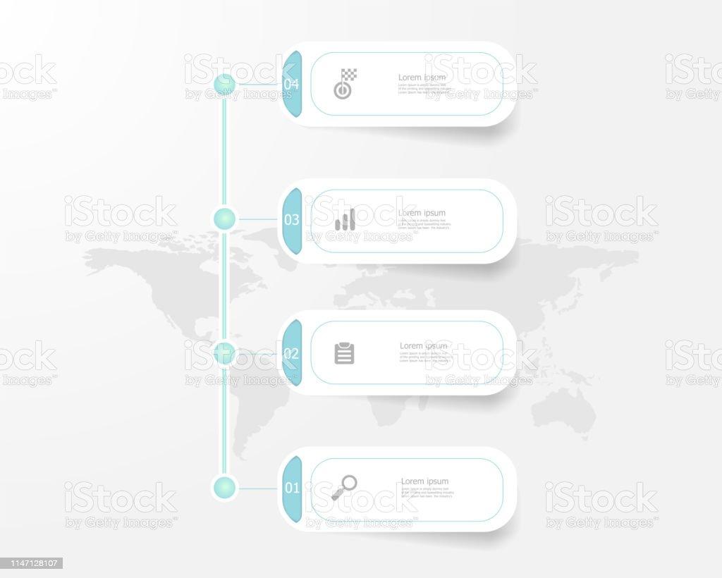 Infographies De La Chronologie Verticale 4 étapes Vecteurs