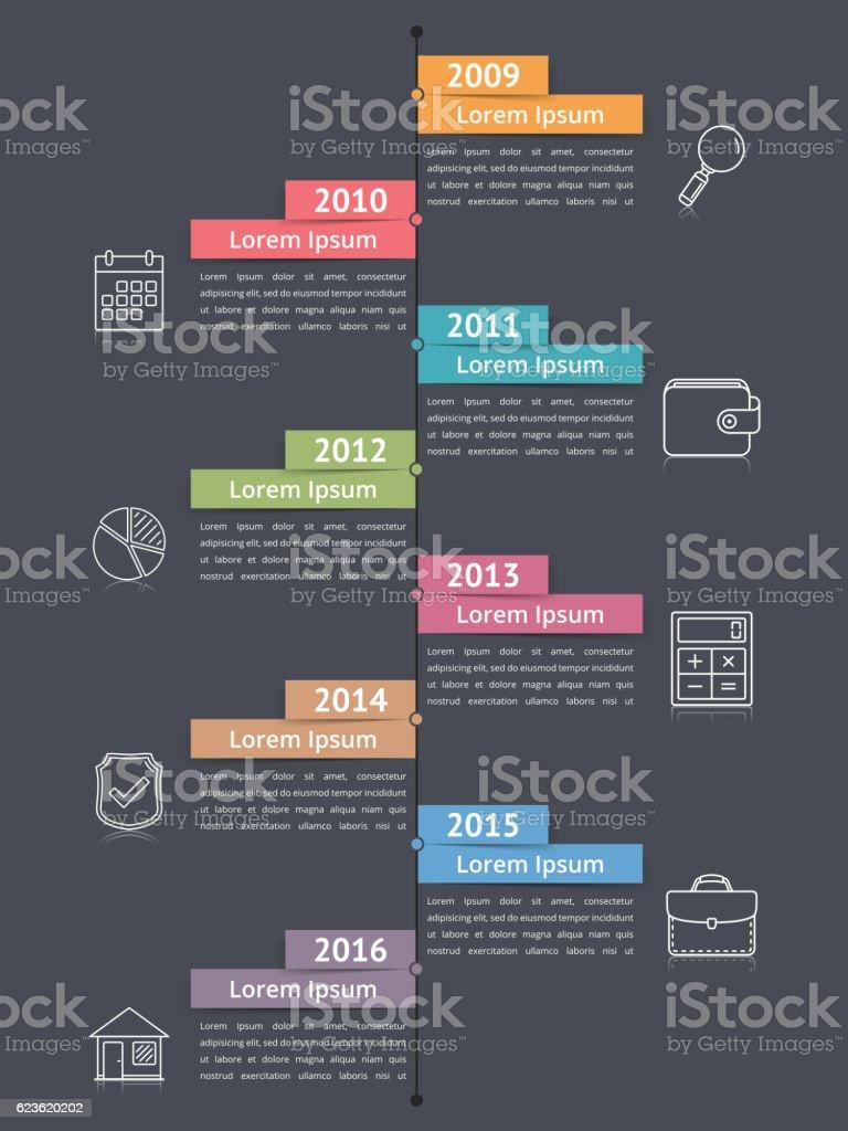 Vertical Timeline Infographics vector art illustration