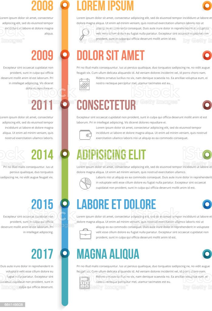 Vertical Timeline Infographics vector art illustration
