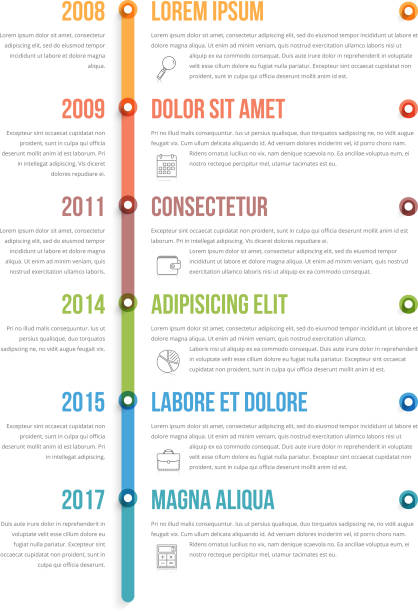 vertical timeline infographics - vertical stock illustrations, clip art, cartoons, & icons