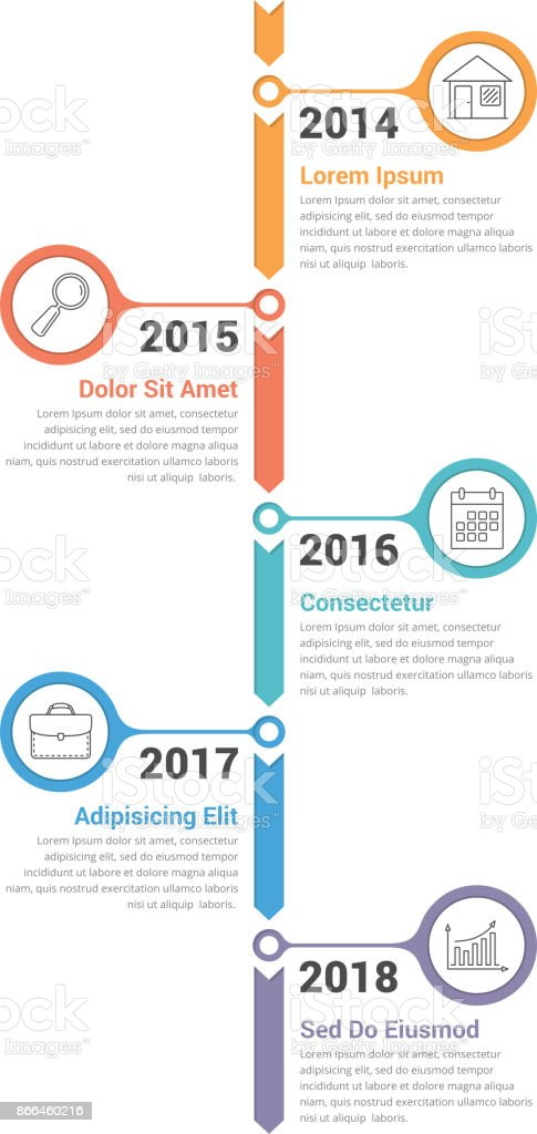 Infografia de Timeline vertical - Vetor de A Data royalty-free