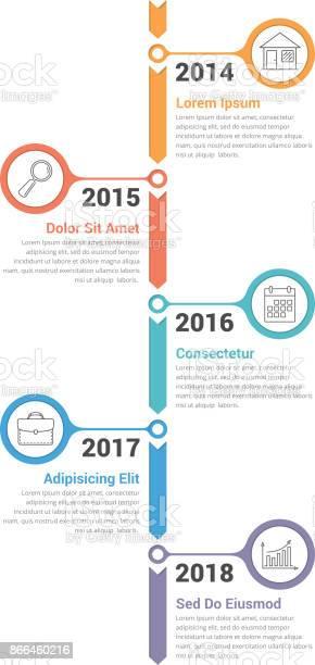 Vetores de Infografia De Timeline Vertical e mais imagens de A Data