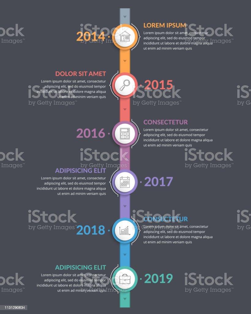 Modèle De Chronologie Verticale Vecteurs Libres De Droits Et