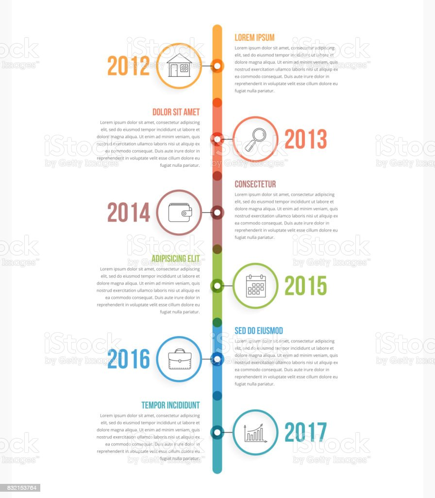 Vertical Timeline vector art illustration