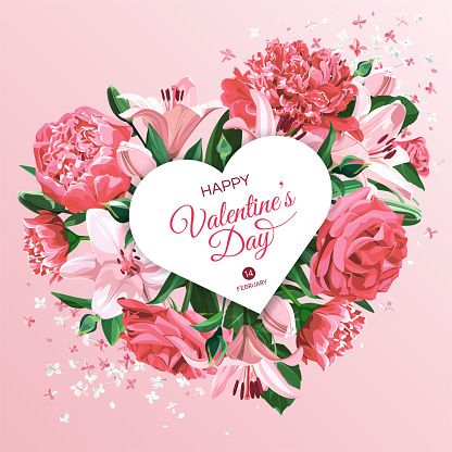 Vertical Valentine's Day greeting card template. Pink and white flowers isolated on light background. Heart with Roses, Peonies and Lilies.