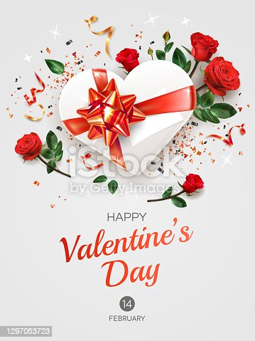 istock Vertical Valentine's Day greeting card template with text. 1297053723