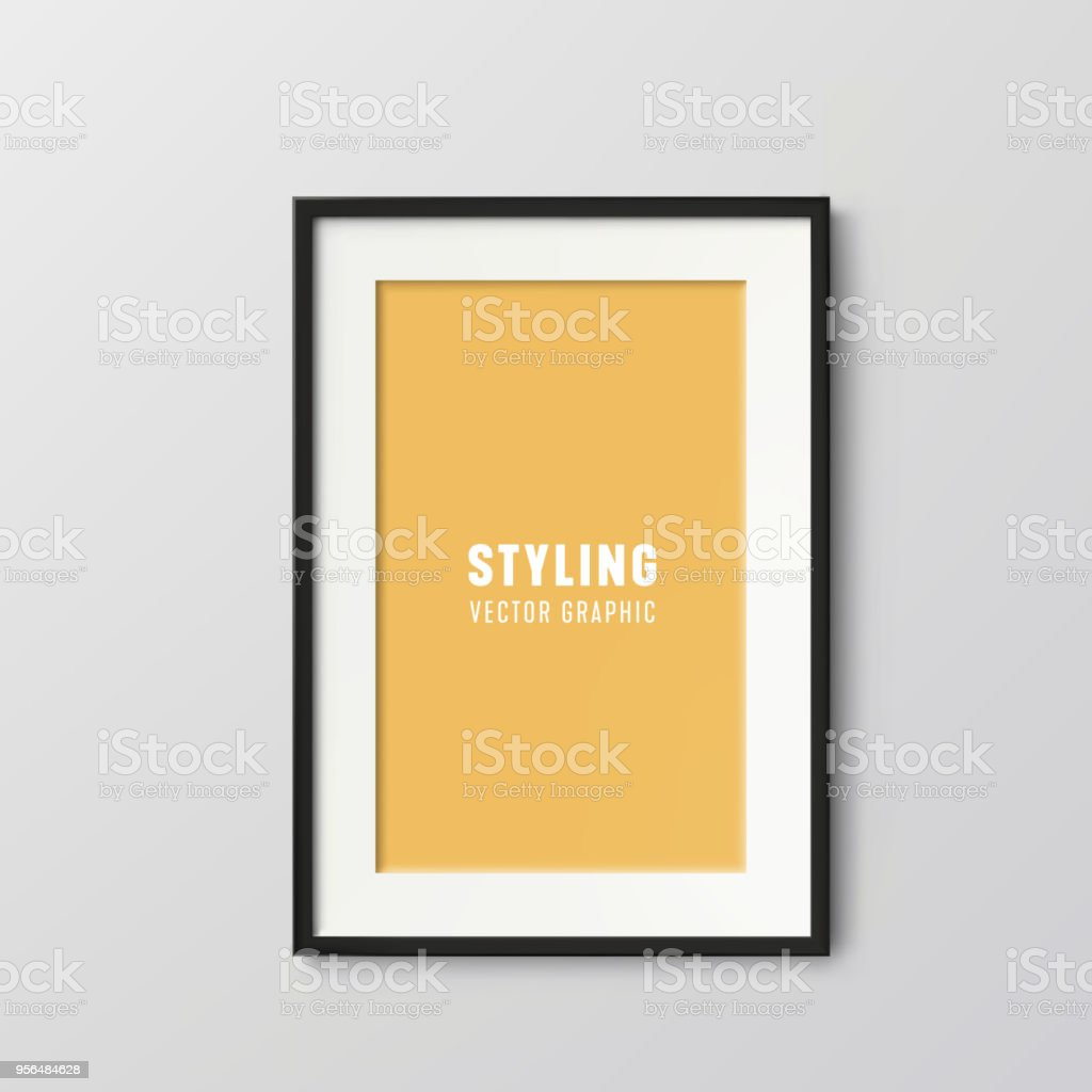 Vertical vector frame with black border vector art illustration