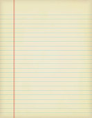 A vertical vector illustration of a plain blank off white colored  lined page from a spiral notepad. The single lines are in blue color over a yellowed background. There is a margin consisting of three vertical red coloured lines towards the left edge.