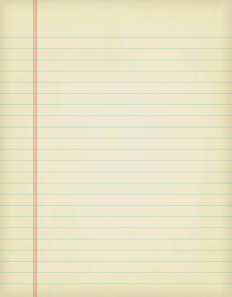a vertical vector illustration of a blank white colored single lined page from a spiral notepad - lined paper stock illustrations