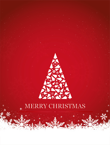 Vertical vector illustration of a creative bright red color background with one creative triangle shape white christmas tree made of xmas ornaments